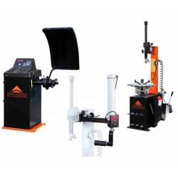 De- en monteermachine, balanceermachine en Montagehulparm  (A-HA-2000-230V-V01,  A-HA-1000-230V1S-V01 en A-HA-900R-V01) in set